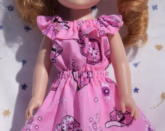 Cute pink and purple peasant style dress in a bandana print fits 14.5 inch dolls