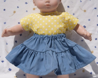 Blue skirt with a yellow blouse in a white polka dot print fits 15 inch baby dolls