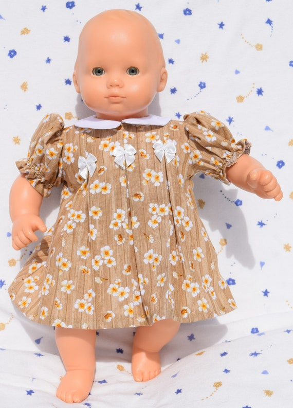 ef4e9256e Pretty brown dress with white flowers and collar fits 15 inch