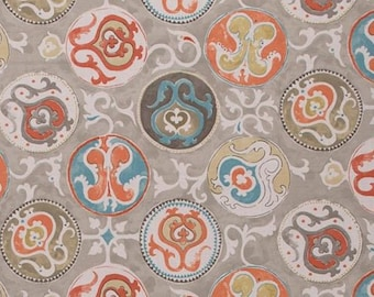 MYRA PRINTS Jim Thompson Fabric The loose painting and classically inspired motifs was inspired by such a fresco on a ceiling.