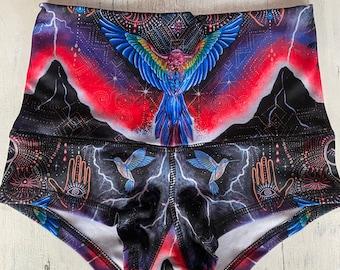 Eco Wear Booty shorts ~Cuando Los Cielos Lloran~ wearable art