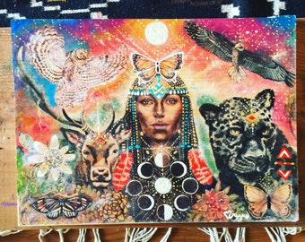 Large size hand painted wood print black jaguar eage white owl moon phases butterfly medicine visionary art