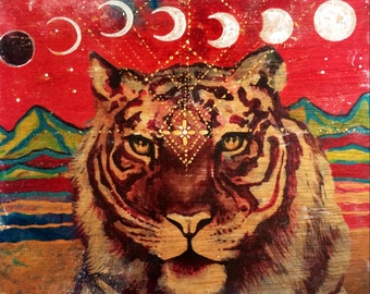 White Tiger Moon hand painted up-cycled wood print Isabel Bryna