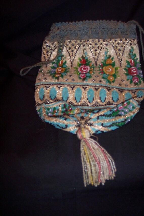 Edwardian Drawstring Beaded Handbag