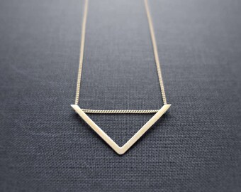 Raw Brass Small Pendant, Sliding Chevron Necklace On Fine Gold Filled Curb Chain, Modern Minimalist Pendant
