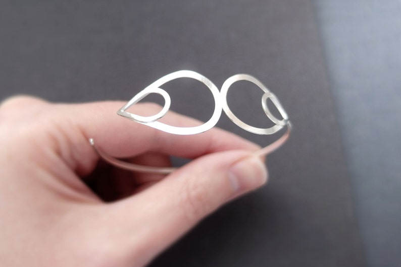 Abstract Motif Cuff Bracelet Sterling Silver Side Opening Bangle Satin Finish