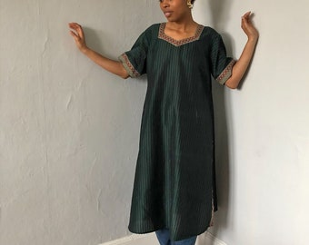 Vintage 1970s Green Striped Tunic Dress