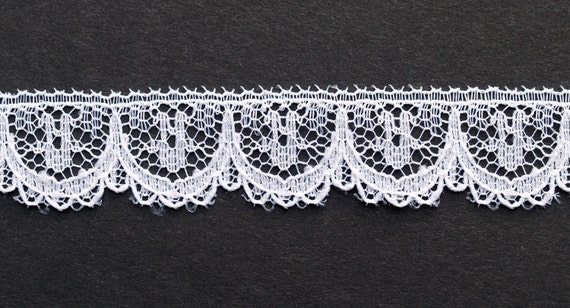 "5"" Wide White Embroidery On Red Trim. 3 Yards Embroidered Trim"