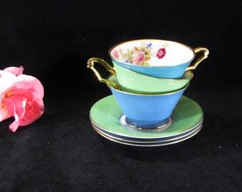 Bavaria German China Tirschenreuth Floral Teacups And Saucers cfd3ff0d0