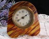 Art Deco Bakelite Marbled Amber And Brown Mini Alarm Clock, Working Desk Clock, Clock Repair Hobbyists, Vintage 1940s