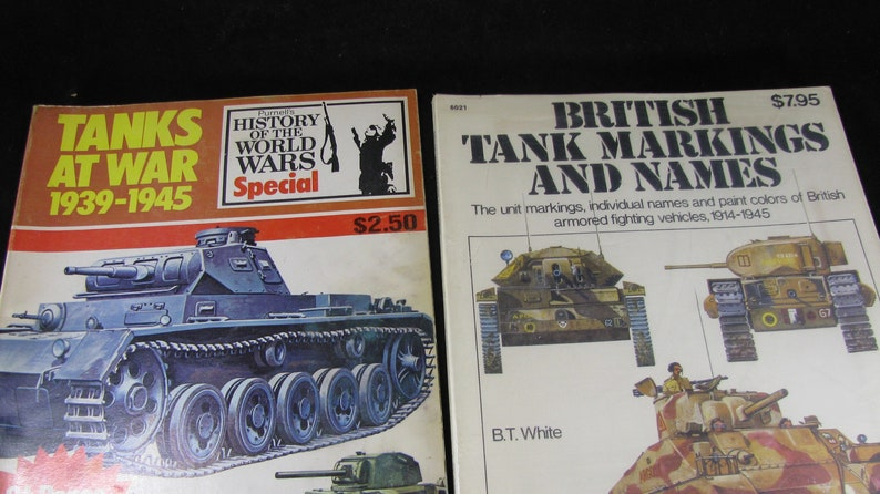 Tanks At War And British Tanks Markings, Military Reference Softcover  Books, Tactics And Developments Of Tanks WWII, Vintage 1970s, Set 2