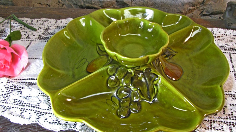 California Pottery Sectional Serving Tray, Los Angeles Pottery, Avocado  Green Chip And Dip Platter, Appetizer Dish Mid Century Modern 1960s