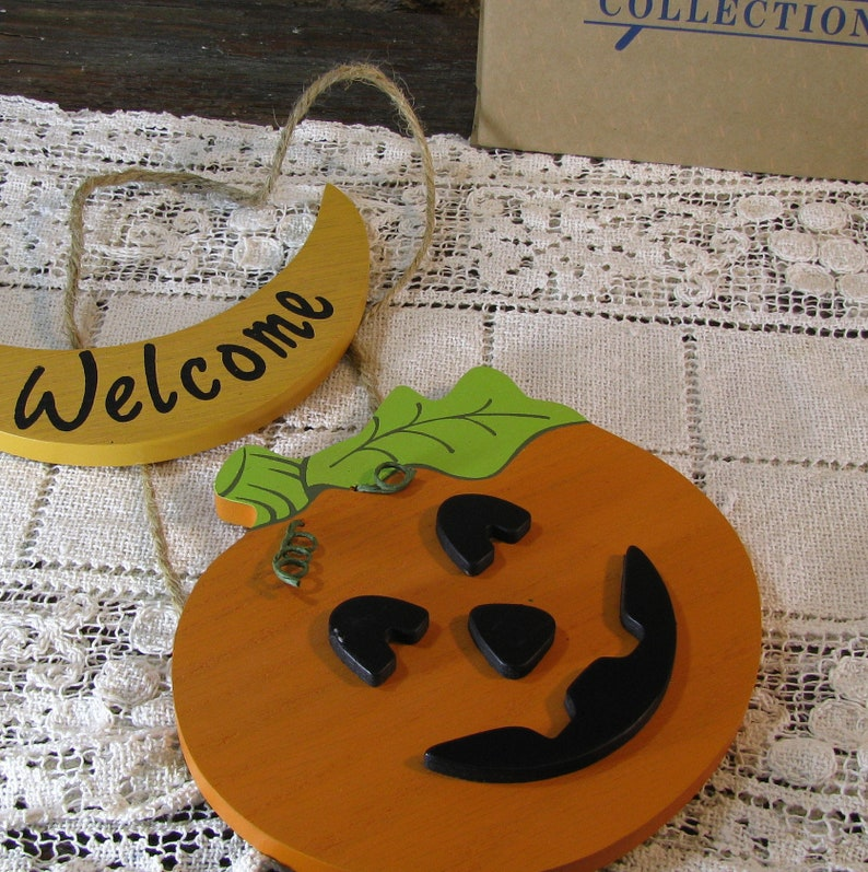 Avon Gift Collection Hanging Wood Jack O Lantern Pumpkin Etsy