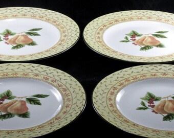 Earthenware Fruit Sampler Pattern, Johnson Brothers Dinner Plates, Pears Center Of Plates, Cream Border Pink Trim, Shabby Chic Set 4