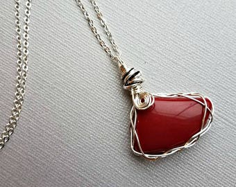 Red jade wire wrapped stone with pewter love knot spacers on your choice sterling plated or sterling chain link//red jade pendant necklace