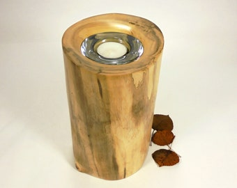 Aspen Tree Cremation Urn Small & Tea Light.  Wood Cremation Urn for Ashes.  Wooden Urns Handmade in Colorado.  Holds 40 lbs.of body weight.