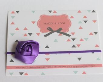 SALE Tiny Satin Purple Rose Headband