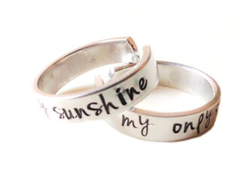 you are my sunshine / my only sunshine - Set of two Hand Stamped Ring - Adjustable Aluminum Ring - Custom Ring band