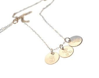 Custom Single Monogram Necklace - Initial necklace - Gold-fillef  Disc Necklace - Engraved THREE Disc - Charm Necklace