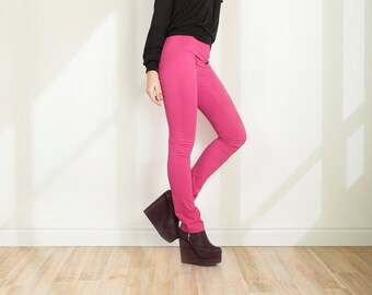 Stretch pants Viscose trousers  Pink leggings Slim Fit trousers Body con pants