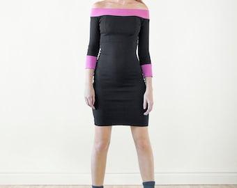 Warm Dress Day dress Shoulder dress Black dress Casual dress Cotton dress Pink dress