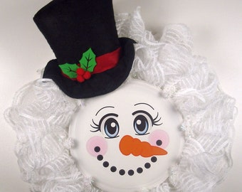 Snowman Ruffle Mesh Wreath, Snowman and Top Hat Wreath, Wreath made on Facebook Live 06/14/18