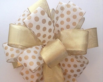 Christmas Tree Topper / Gold Xmas Tree Topper / Christmas Gold Polka Dots Decorative Bows / Handmade - Custom Design in Wired  Ribbon