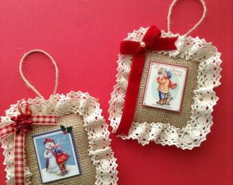 Christmas Vintage Images Ornaments / Classic Christmas Scenes Ornaments / Vintage Burlap Ornaments / set of 2 /Xmas Tree Ornaments /Handmade