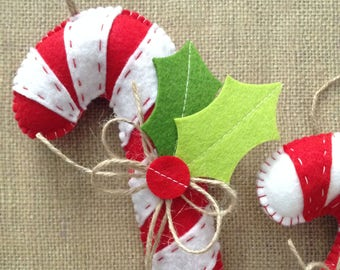Candy Cane Ornaments / Christmas Tree Ornaments / Peppermint Candy Cane Felt Ornaments / Xmas Peppermint Candy Cane Xmas Decor / set of 2