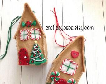 Gingerbread Ornaments / Gingerbread Houses / Felt Gingerbread  Xmas Tree Ornaments / Set of 2 / Christmas Tree Ornaments / Handmade