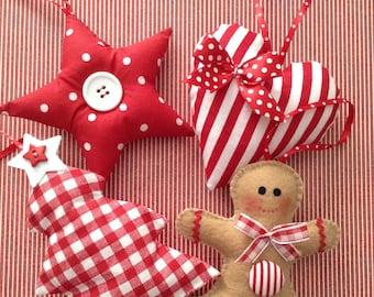 Christmas Ornaments / Xmas Fabric Red and White Ornaments / Set of 4 / Christmas Tree Ornaments / Gingerbread - Xmas Tree - Star - Heart