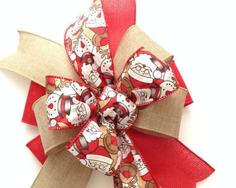 santas snowman reindeer christmas bows set of 6 xmas tree decorative bows christmas mix wired ribbon bows xmas bow handmade