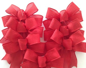 red christmas bows red small xmas bows red decorative bows xmas red bows christmas tree bows set of 7 bows handmade wired ribbon - How To Make Christmas Bows Out Of Ribbon