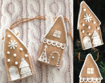 Gingerbread Houses Ornaments / Christmas Ornaments / Gingerbread Xmas Decor Ornaments / Set of 2 / Felt Gingerbread Xmas Ornaments /Handmade