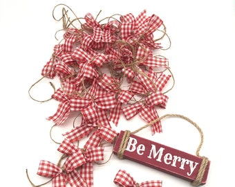 Plaid Red and White Decorative Bows / Set 24 Bows / Christmas Plaid Decor Bows / Mason Jars Plaid Bows /Red and White Plaid Xmas Small Bows