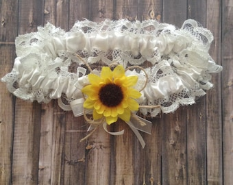Sunflower Inspired Bridal Garter Wedding Rustic Country Style White Lace And