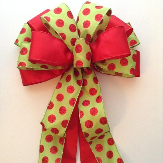 christmas wreath bow xmas decorative bow christmas polka. Black Bedroom Furniture Sets. Home Design Ideas
