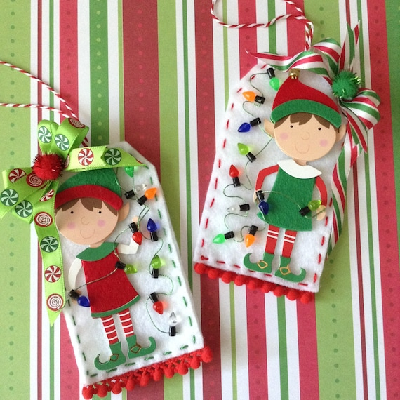 Whimsical Christmas Ornaments.Christmas Elf Ornaments Felt Handmade Elf Whimsical Ornaments Set Of 2 Red And Green Elf Ornaments Handmade And Design On Felt