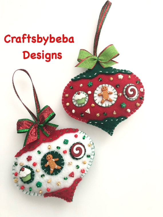 Whimsical Christmas Ornaments.Gingerbread Felt Ornaments Christmas Tree Ornaments Xmas Gingerbread Ornaments Set Of 2 Whimsical Ornaments Handmade Design Felt