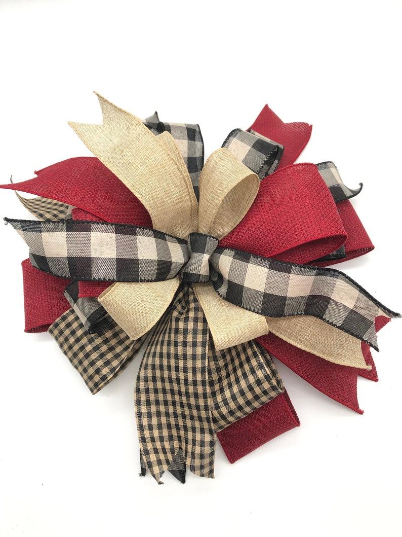 Christmas Tree Topper  Christmas Vintage  Plaid Decorative Bow  Xmas Tree Topper  Christmas Plaid Bow  Christmas Tree Decorative Bow