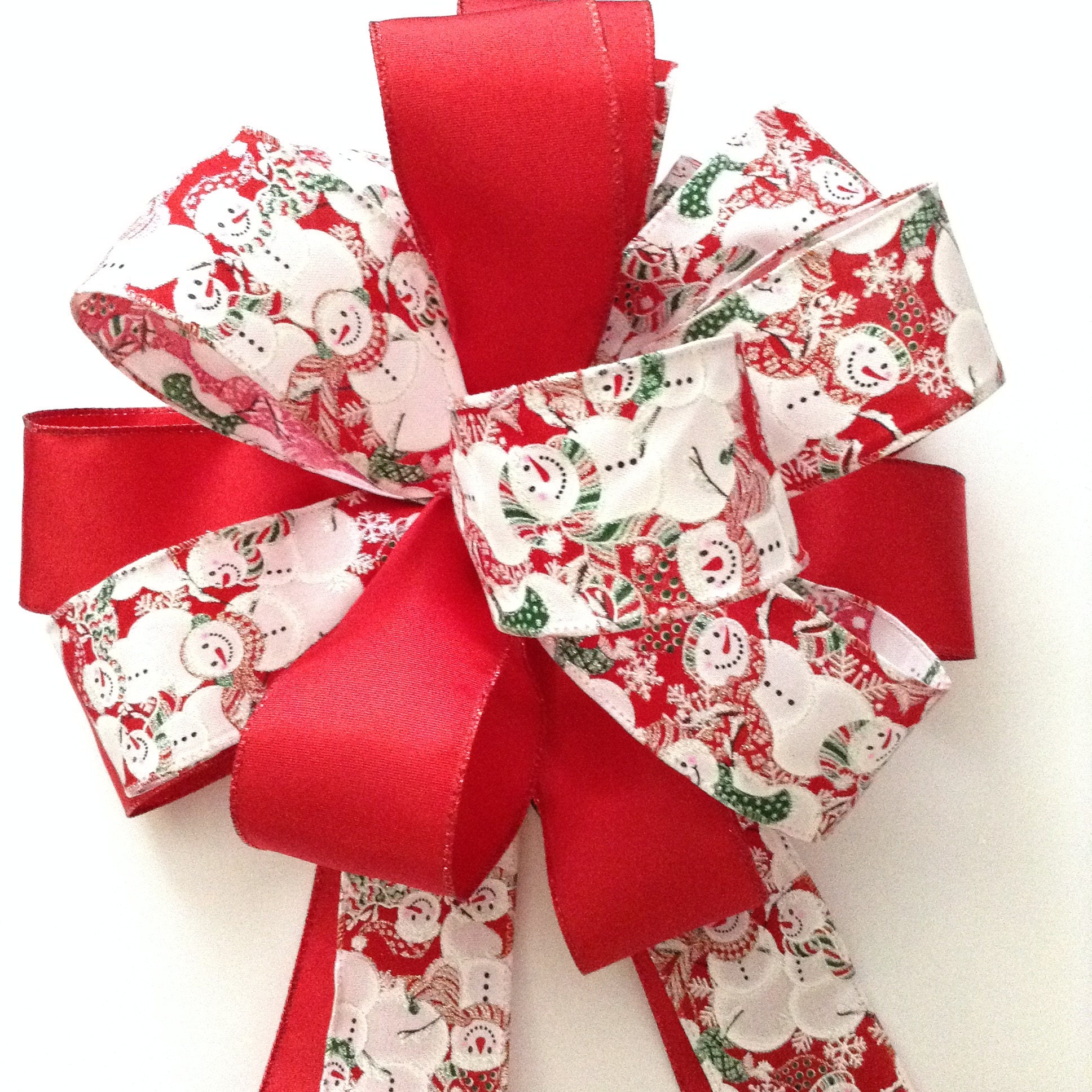 Snowman Christmas Tree Topper / Snowman Decorative Bow