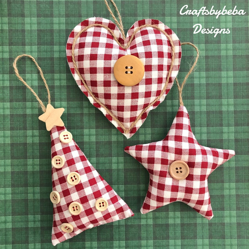 Christmas Ornaments Set Of 3 Ornaments Fabric Gingham Ornaments Christmas Tree Ornaments Red And White Gingham Xmas Ornaments