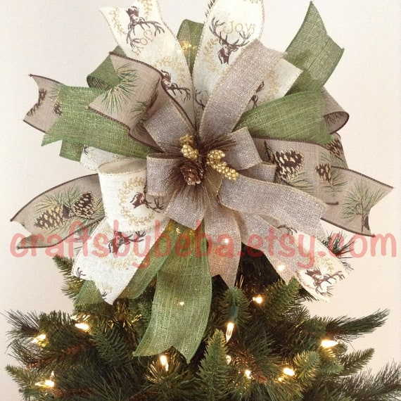 christmas tree topper rustic decorative bow xmas tree etsy. Black Bedroom Furniture Sets. Home Design Ideas