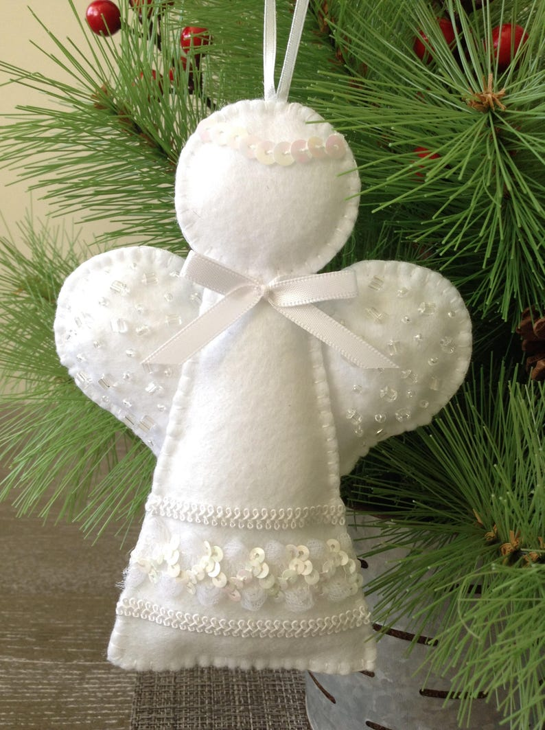 Angel Ornaments For Christmas Tree.Angel Ornament White Angel Decorative Angel Hanging Angel Ornaments Christmas Angel Ornament White Felt Xmas Ornament Handmade