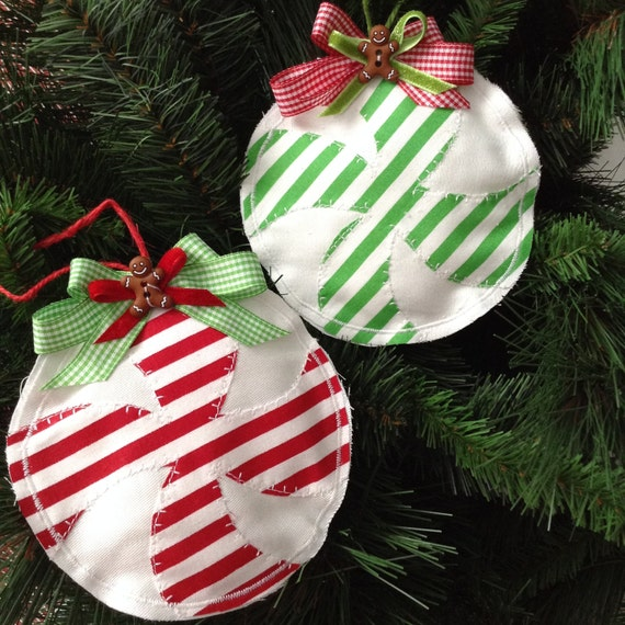 image 0 - Peppermint Christmas Ornaments / Christmas Ornaments / Candy Peppermint  Xmas Ornaments / Fabric Peppermint - Gingerbread Xmas Decoration