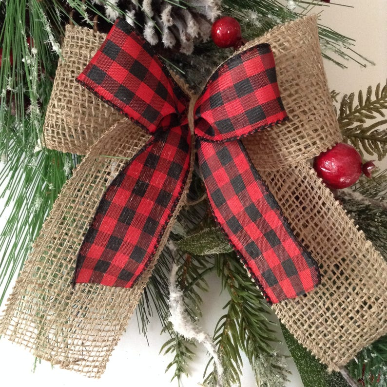 Christmas Tree Red and Black Plaid Bows / Xmas Plaid image 0