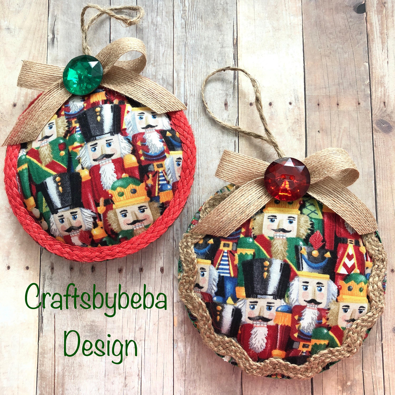 Nutcracker Christmas Ornaments Xmas Nutcracker Fabric Ornaments Set Of 2 Nutcracker Christmas Decoration Handmade And Design Fabric