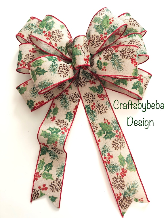 GREEN//GREY BURLAP WITH  MISTLETOE  WIRED EDGES