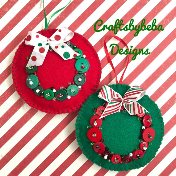 Whimsical Christmas Ornaments.Christmas Ornaments Christmas Wreath Set Of 2 Whimsical Felt Ornaments Xmas Handmade Ornaments Christmas Button Design Ornaments