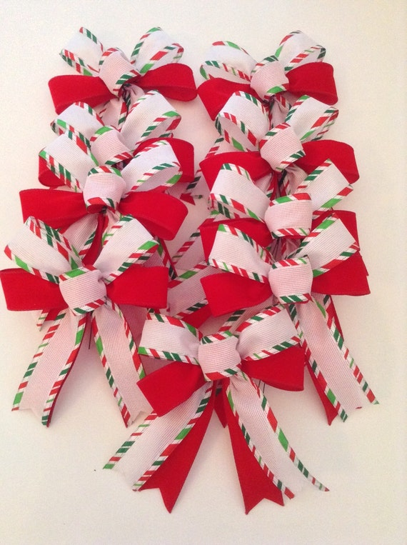 Christmas Tree Bows White.Christmas Tree Bows Christmas Decorative Bows Christmas Red White And Green Bows Handmade And Design In Wired Ribbon Set Of 9